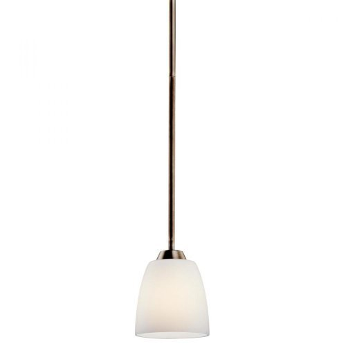 KICHLER 42562BPT Granby 1LT Mini-Pendant, Brushed Pewter Finish with Satin Etched Cased Opal Glass by