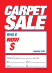 D30CRP ''Carpet Sale Was Now'' Unstrung Drill Sale Tags (No Strings) Small Price Cards - 3 1/2'' x 5'' (100 Pack) Furniture, Flooring, Business Store Signs