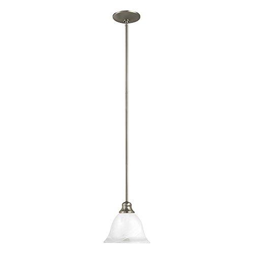 Sea Gull Lighting 61940-962 Windgate One-Light Mini-Pendant with Alabaster Glass Shade, Brushed Nickel Finish