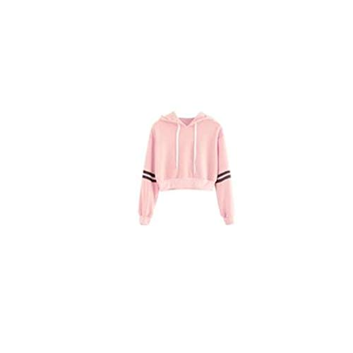 LEXUPA Women Striped Drawstring Crop Hoodie Sweatshirt Varsity Jumper Crop Pullover Top (Large, Pink)