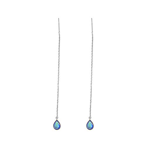 - SLUYNZ 925 Sterling Silver Blue Crystal Droplet Dangle Earrings for Women Teen Girls Slender Threader Earrings
