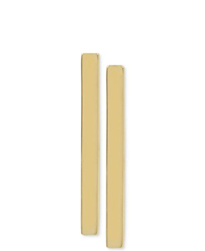 Women's Line Bar Stick Stud Earrings Simple Vertical Flat Gold-Tone (Gold 20mm) (Stick Line)