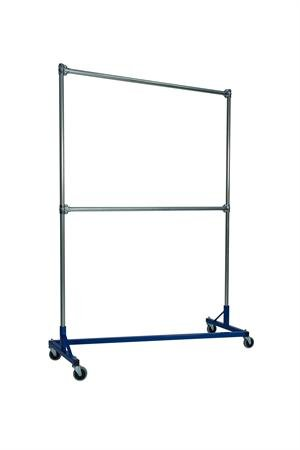 5 ft. Heavy Duty Z-Rack Double Rail Garment Rack w 7 ft. Uprights in Blue by Quality Fabricators