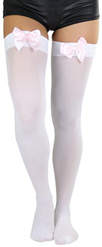 ToBeInStyle Women's Opaque Satin Bow Accent Thigh Highs (One Size, White/Light Pink)