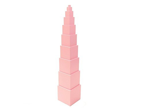 NEW Montessori Sensorial material - Solid Basswood Pink Tower by PinkMontessori