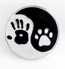(Human Hand and Pet Paw Pin and Brooches Taiji Yin Yang brooch Badges Pinback Lapel pins Pet Memorial Jewelry Shipped from USA)