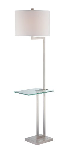 Lite Source LS-81746PS/WHT Rudko Floor Lamp with Tray Table, Polished Steel Finish, White Fabric Shade, 16.0