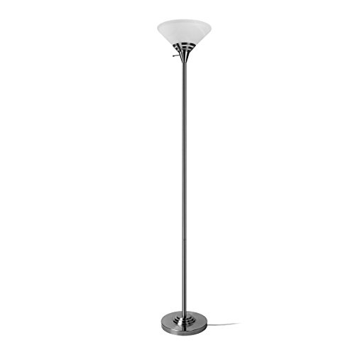 Torchiere lamp parts torchiere glass amazon oneach modern torchiere floor lamp 150 watt light 705 inch with frosted white alabaster glass shadebrushed steellamps for reading living room bedroom aloadofball Choice Image