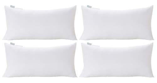 Acanva Decorative Rectangle Throw Pillow Inserts Hypoallergenic Form Stuffer Cushion Sham Filler, 12x20, White 4 Pack (Rectangular Pillows)