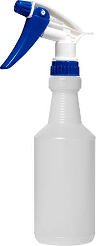 Empty Plastic Spray Bottle 16 Ounce, Professional Chemical Resistant with Blue-White Sprayer for Chemical and Cleaning Solution, Heavy Duty, Adjustable Head Sprayer from Fine to Stream ()