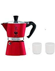 (Bialetti 4942 Moka Express Espresso Maker, Red 3-Cup (2 Porcelain Espresso Cups Gift))