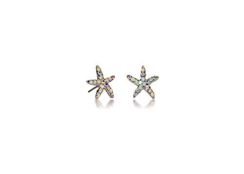 Hypoallergenic Surgical Steel Rhodium Plated Star Fish Earrings With Rainbow Cubic Zirconia - Steel Surgical With Earing Posts