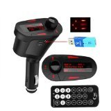 AMZDEAL Car Kit MP3 Player Wireless FM Transmitter Modulator USB SD MMC Slot Red LCD Display with Remote