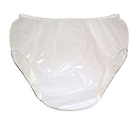 (Bikini Cut Plastic Pants Adult Sizes White Only, X-Small Fits 26-30 in by Leakmaster)