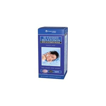Vitamin World Bi-Layered Melatonin 5 mg.Sleep Aid 60 Bi-Layered Tablets