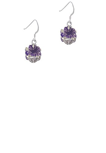 (Hot Purple Hibiscus Flowers Spinner - French Earrings)