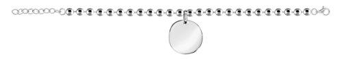 So Chic Bijoux © Bracelet Femme Longueur Réglable: 16 à 19 cm Maille Boule 1 Pampille Disque Argent 925