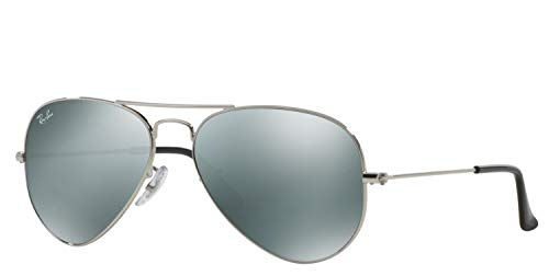 Ray-Ban RB3025 Aviator Sunglasses (58 mm, Silver Metal Frame/Silver Mirror Lens) (Ray-ban Aviator)