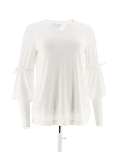 Every Day Susan Graver Liquid Knit Split Bell SLV Top White 2X New A302623 (Slv Knit Top)