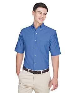 UltraClub Men's Classic Wrinkle-Free Short-Sleeve Oxford(French Blue) (XLarge) (Dress Half Sleeve Shirt White)