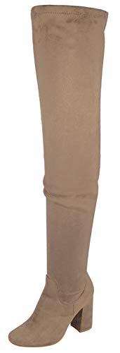 Nature Breeze Elantra 01 Womens Stretchy Thigh High Chunky Heel Suede Boots Taupe 6