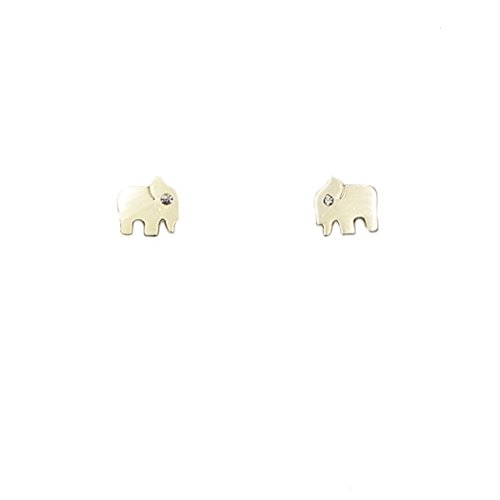 - Rosemarie Collections Women's Petite Stud Earrings Elephant (14K Gold Dipped)