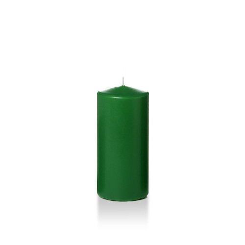 Yummi 3'' x 6'' Hunter Green Round Pillar Candles - 3 per pack by Yummi