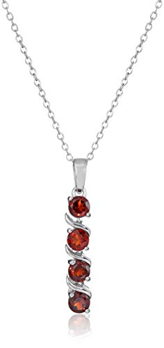 Sterling Silver Genuine Garnet Pendant Necklace, 18