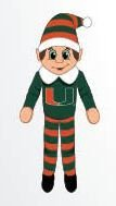 Miami Hurricanes Plush Elf -