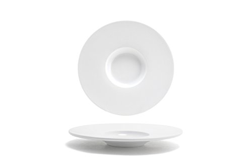 "Front of the House DSP035WHP22 FOH, Wide Monaco Plate, 1.25"" Height, 9.25"" Width, 9.25"" Length, Bright White (Pack of 6)"