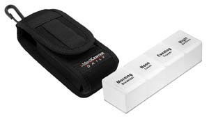 """Daily Organizer for Medication and Vitamins, Travel Size Pill Box with Case by MedCenter (Small: 2""""W X 2.25""""D X 4.75""""H)"""