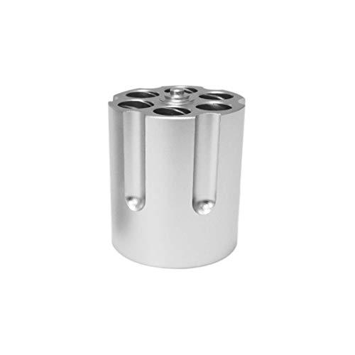 Gun Cylinder Pen Holder, 6-Hole Metal Revolver Pen Pencil Holder Gun Cylinder Design Heavy Duty Non-Slip Aluminum Office Creative Decoration (Large) (Revolver Design)