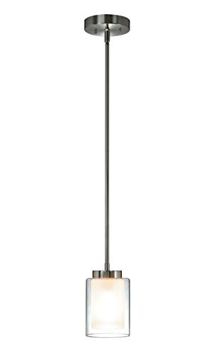 Contemporary Glass Ceiling Pendant Light - XiNBEi Lighting Pendant Lighting Modern 1 Light Mini Pendant Light with Dual Glass in Brushed Nickel, Adjustable Hanging Ceiling Light for Kitchen & Living Room XB-P1195-BN