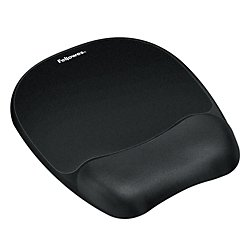 Fellowes(R) Gel Wrist Rest/Mouse Pad, Fabric, Black (Gel Wrist Pad Black Fabric)