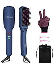 IEFEVIVI Hair Straightener Brush Lonic-2-in-1 Straightening Brush Iron with Anti-Scald Feature, Auto Temperature Lock and Auto-off Function MCH hair straightener Ceramic Technology