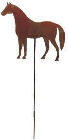 Village Wrought Iron 35 Inch Horse Rusted Garden Stake - Iron Cast Wrought Garden Decor