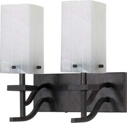 Replacement for 60/005 CUBICA 2 Light 13 INCH Vanity with Alabaster Swirl Glass Textured Black Contemporary