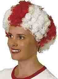 Humatt Ltd Funstar Costumes St Georges Cross Red & White Curly Haired Wig - 2018 World Cup -