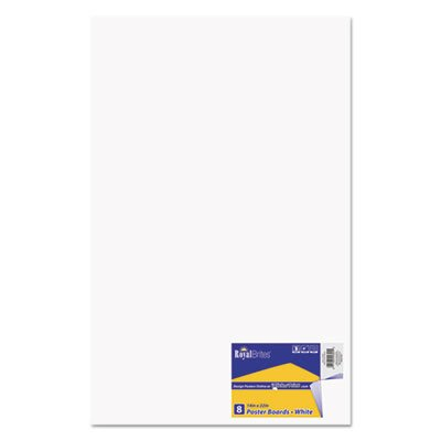 Premium Coated Poster Board, 14 x 22, White, 8/Pack by Royal Brites