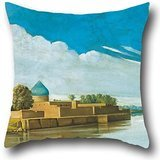 - Oil Painting Abdul Qadir Al-Rassam - River Scene On The Banks Of The Tigris Throw Pillow Covers ,best For Lover,saloon,shop,living Room,christmas,office 20 X 20 Inches / 50 By 50 Cm(twin Sides)