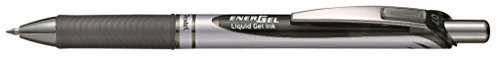 Pentel Energel Knock Ballpoint Pen, 0.7mm Triagle Tip, Black Ink, Siver Body with Black Accent (BL77-A) by Pentel 1 Dozen