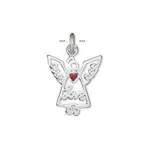 (Charm sterling silver and enamel red 18x16mm single-sided open winged angel with
