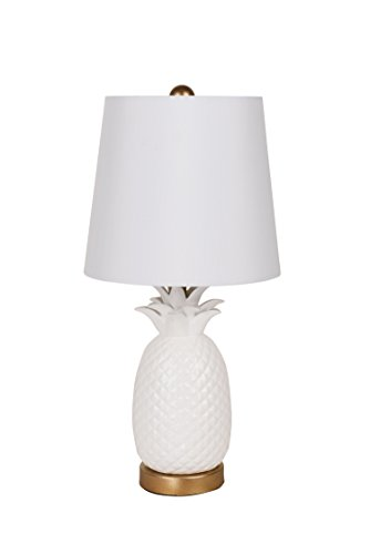 Catalina Lighting 20456-001 Transitional Ceramic Pineapple Accent Table Lamp with Linen Shade, 18.5
