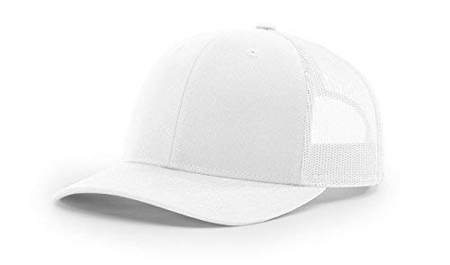 (Richardson 112 Mesh Back Trucker Cap Snapback Hat, White)