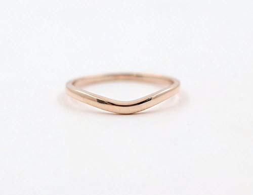 Fine Ring Platinum (Curved Wedding Band, 14k Solid Gold Matching Band, Plain Ring for Women, Curved Wedding Ring in Rose gold, White gold, or Yellow gold)