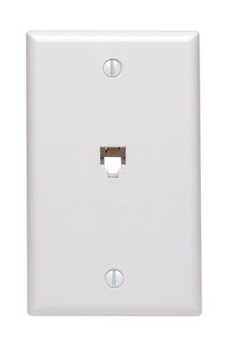 Leviton 40539-PMW Midsize Telephone Wall Jack, 6P4C, White (Flush Faceplate Mount Modular)
