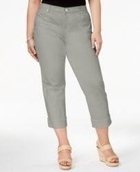 Style & Co. Womens Plus Twill Cuffed Capri Pants Gray - Capri Twill Cuffed