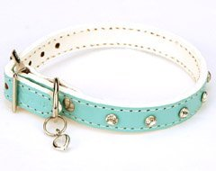 Exquisite Leather Swarovski Heart Solitaire Aquamarine Dog Collar (Small)
