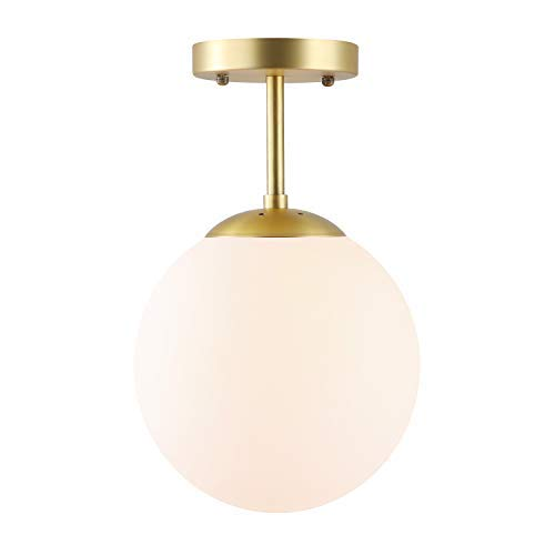 Light Society Zeno Globe Semi Flush Mount Ceiling Light, Matte White with Brass Finish, Contemporary Mid Century Modern Style Lighting Fixture (LS-C176-BRS-MLK)