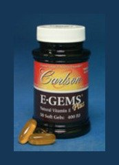 Carlson Labs E-Gems Plus Natural Vitamin E, 400 IU, 250 Softgels by Carlson